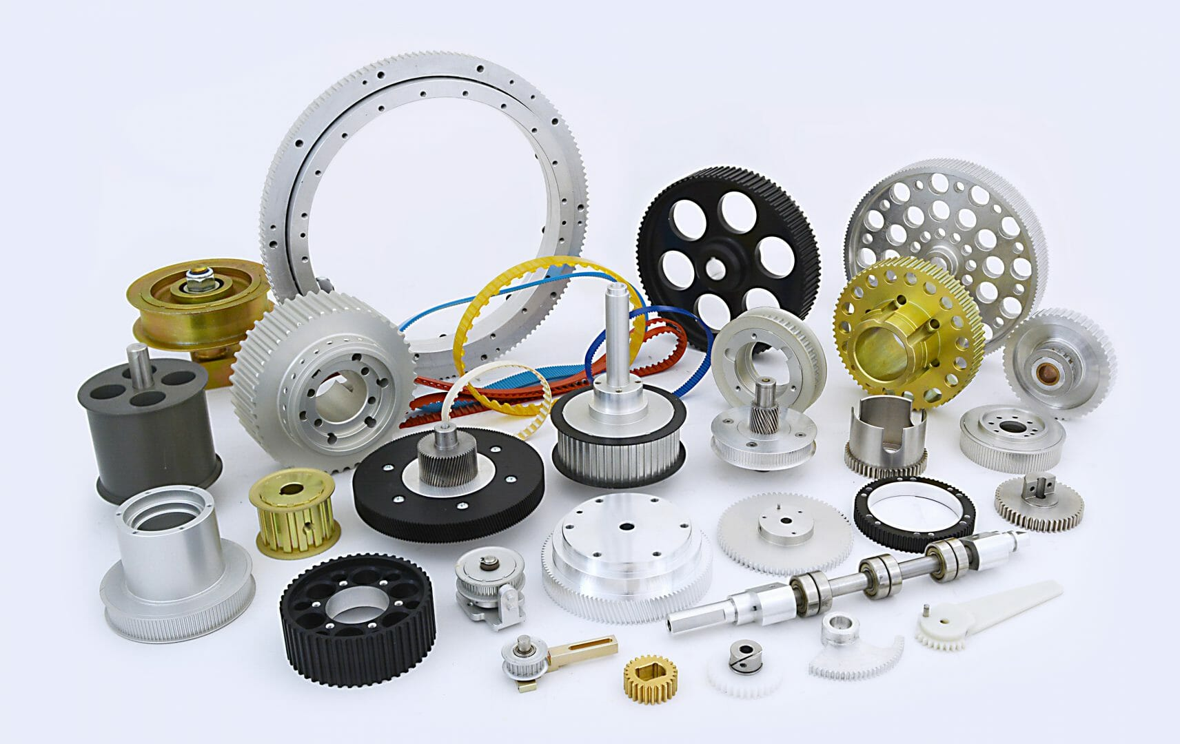 Pulleys gears and belt assembled in a group