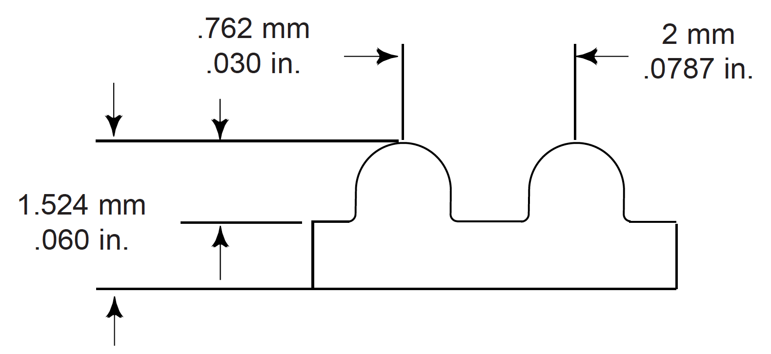 iso drawing of belt profile and dimensions