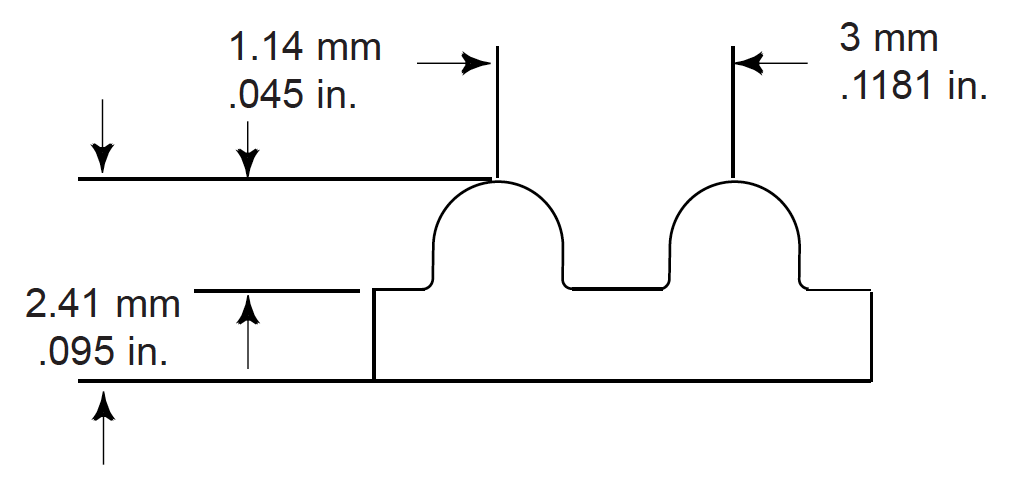 belt profile drawing with dimensions