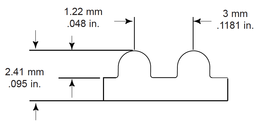 profile belt drawing with dimensions