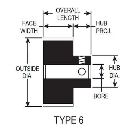 no flange pulley profile drawing with dimensions