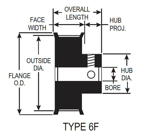flanged pulley profile drawing with dimensions
