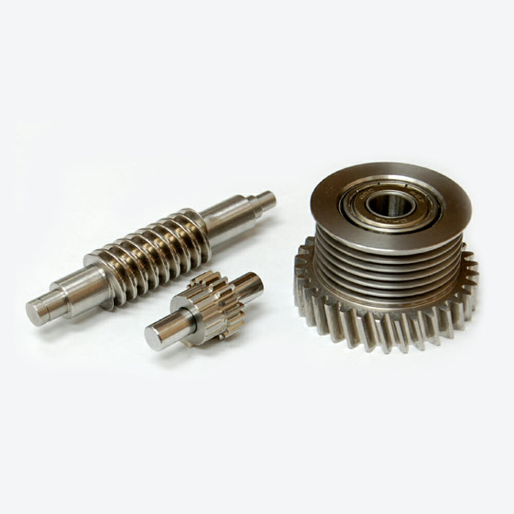 one work gear smaller gear and one gear with bearing