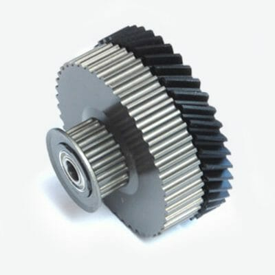 Combination Molded Helical Gear and Double Pulley with Hard Anodize