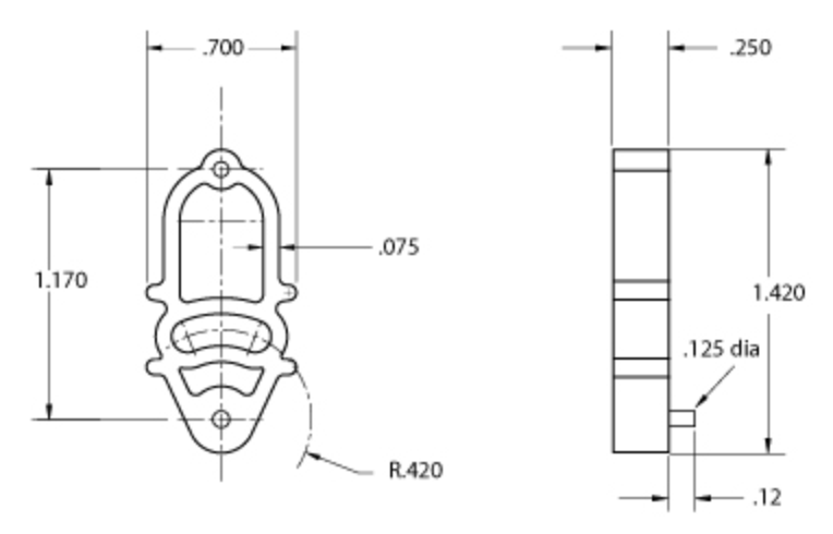 iso drawing of size 3 spacer showing dimensions