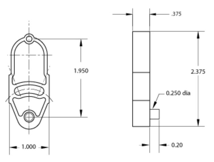 iso drawing of size 4 spacer showing dimensions