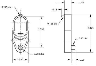 Tensioner drawing with dimensions